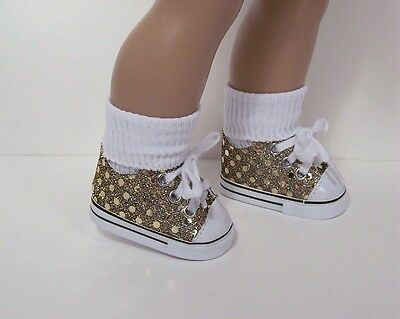 GOLD Faux Sequin Tennis Sneakers Doll Shoes For 18