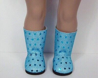 TEAL-SKY-BLUE Faux Sequin Sparkle Boots Doll Shoes For 18
