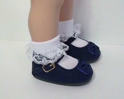 NAVY BLUE Faux Suede w/Satin Ribbon Bow  Doll Shoes For Chatty Cathy (Debs) Blue Faux Satin Bow