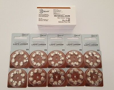 New Xcell Hearing Aid Batteries Size 312  80 Batteries    Expiration July 2021