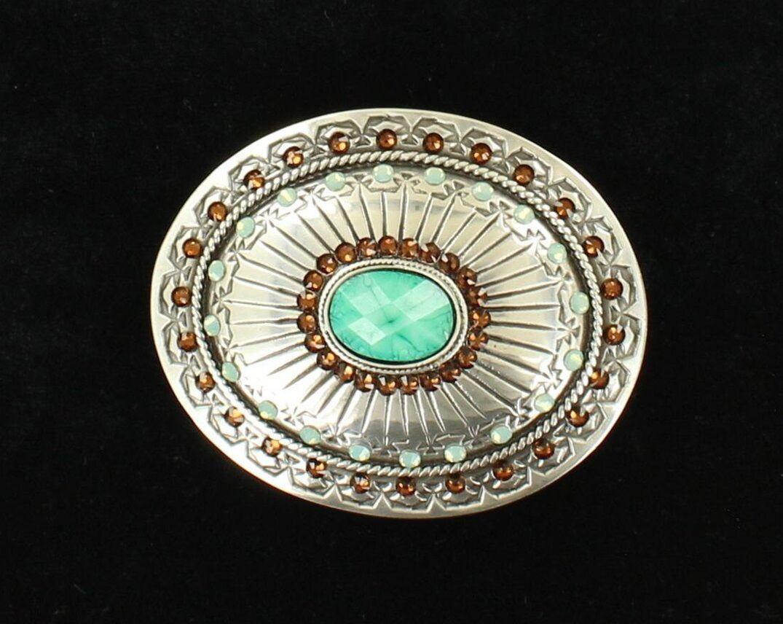 Turquoise Western Belt Buckle Amber Crystals Rhinestone C...