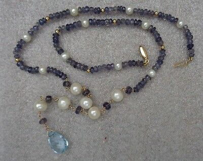 fine blue iolite topaz pearl 14K yellow gold necklace