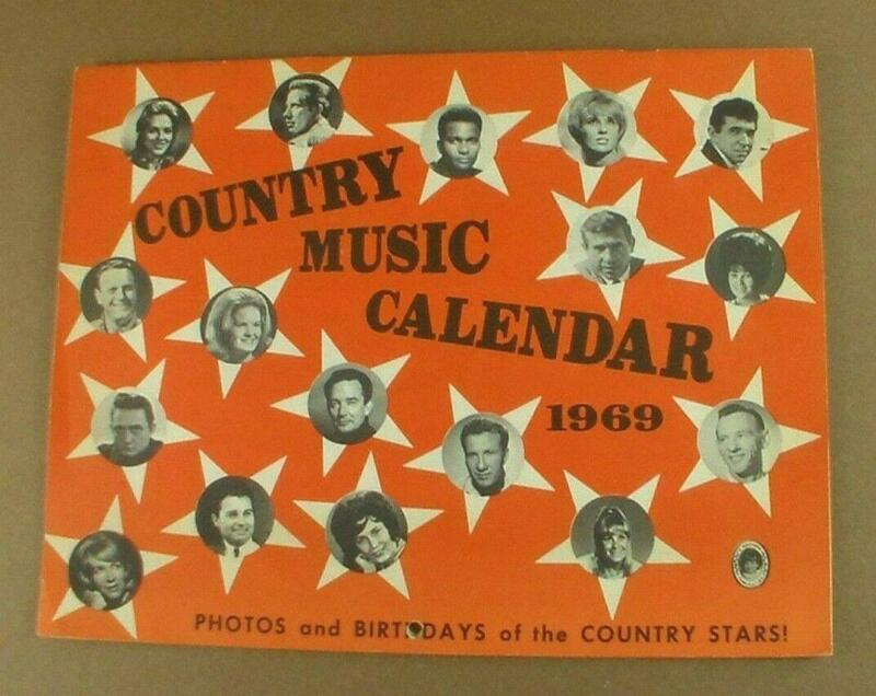 Vintage 1969 Country Music Birthday Calendar Glen Campbell Patsy Cline Many More