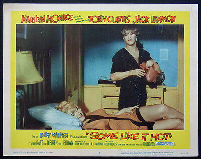 SOME LIKE IT HOT MARILYN MONROE IN BED JACK LEMMON 1959 LOBBY CARD #6