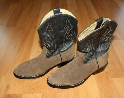 MASTERSON BOOT CO Girls Size 1.5 Brown/Black Leather Cowboy Western Boots Shoes