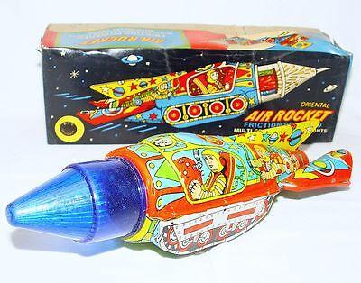 HEC India ORIENTAL AIR ROCKET SPACE TANK Tin Friction Toy Vehicle MIB`60 RARE! Oriental Air Rocket