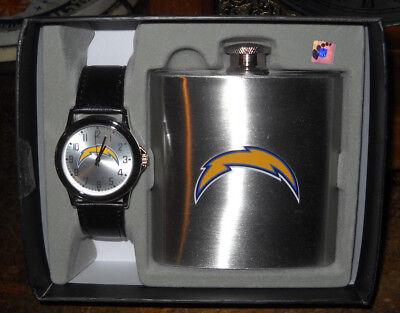 Game Time NFL SAN DIEGO CHARGERS LOS ANGELES WATCH + METAL FLASK GIFT SET NIB  Angel Men Metal Flask