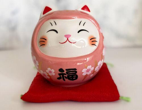 Daruma Maneki neko Darma Pink Cute Lucky cat Coinbank Sakura Peach Pink Japan