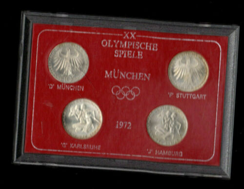 GERMANY 10 mark 1972 MUNCHEN OLYMPIC XX Games UNC Silver Set of 4 Coins D F G J