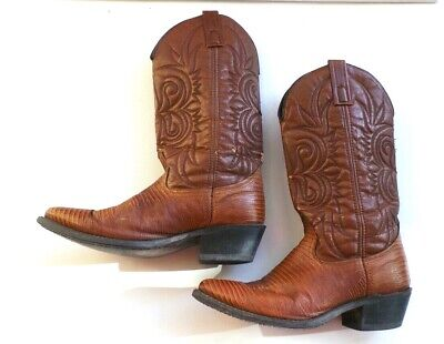 Acme Brown  Leather Lizard Cowboy Western Boots Mens Size 8 D USA