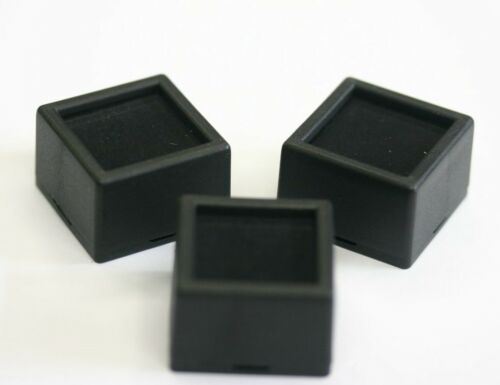 12 Glass top Square Gem Jars Box Black Gemstones Coin White/Black Foam 1 1/2""
