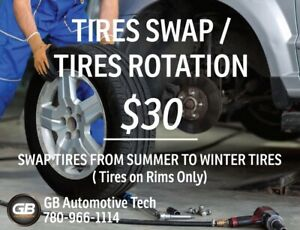 SWAP WINTER TIRES TO SUMMER TIRES ONLY ON RIMS FOR $30!!!