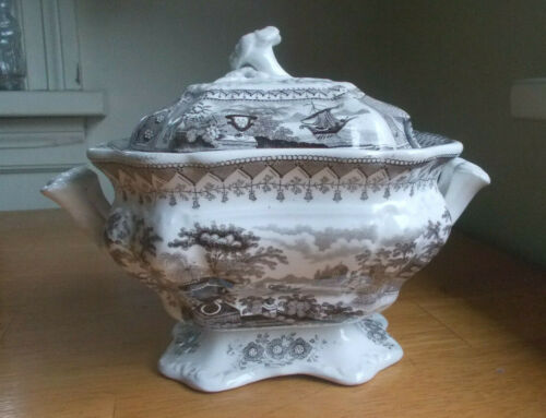 1830s GREY STAFFORDSHIRE COVERED SERVING BOWL CANOVA PATTERN T.MAYER WITH LID