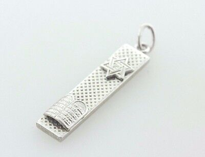 Sterling Silver 925 Textured Mezuzah Star of David 10 Commandments Charm Pendant