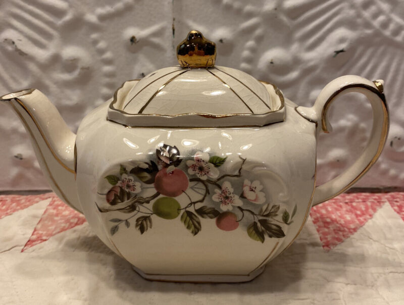 Vintage Cube Sadler Made in Staffordshire England Teapot Cherries & Blossoms
