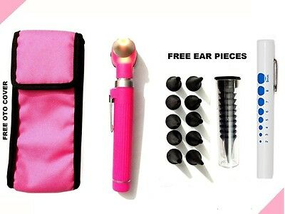 Pink Led Light Mini Fiber Optic Pocket Ent Medical Otoscope Free Penlight