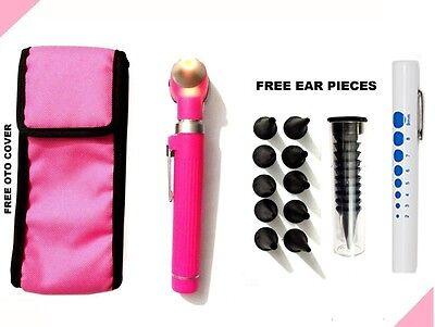 Pink Led Light Mini Fiber Optic Pocket Ent Medical Otoscope   Free Penlight
