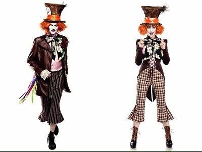 Paar Damen Herren Hutmacherkostüm Mad Hatter 9 tlg - Herren Paar Kostüm