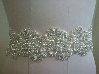Wedding Sash Belt - Silver Clear Rhinestone Pearl Wedding Sash Belt  ](Sash Belt)