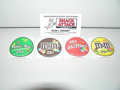 Vendstar 3000 Bulk Candy Vending Machine 4 Candy Label Stickers - New Oem