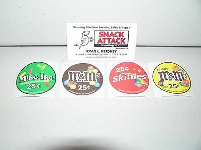 Vendstar 3000 Bulk Candy Vending Machine 4 Candy Label Stickers - New Oem