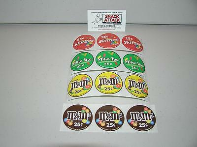 Vendstar 3000 Bulk Candy Vending Machine 12 Candy Label Stickers - New Oem