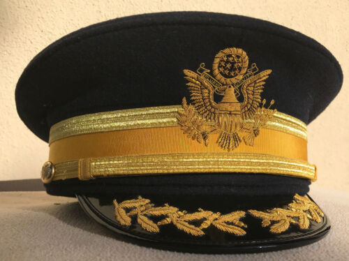US Army Officer M1912 Dress Blue Cap for Cavalry Field Grade Officer Size 7 3/8