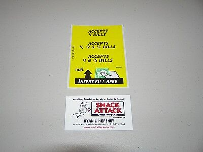 Vm010 Dollar Bill Changer Machine Label Stickers - Accepts 1 5 Free Ship