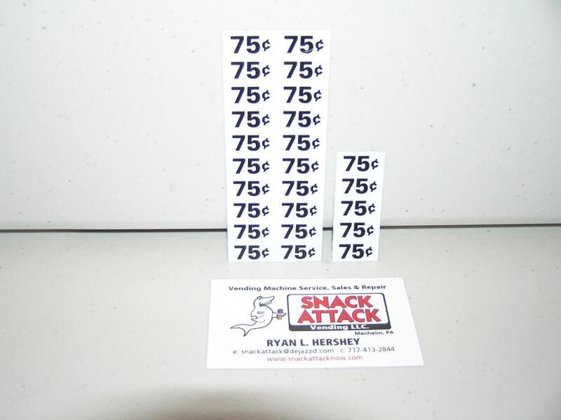 (25) SNACK VENDING MACHINE 75 / 70 CENTS PRICE LABELS - Free Ship!