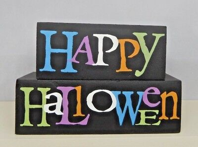 Halloween Wood Blocks (Small Happy Halloween colorful wood blocks - New by Adam's & Co.)