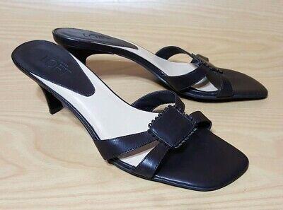 Ann Taylor Loft Brown Leather Mules Womens Shoes 6.5 M