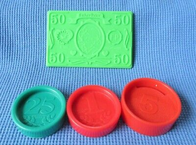 1997 Fisher Price CASH REGISTER COINS BONUS $50 DOLLAR BILL replacement part LOT