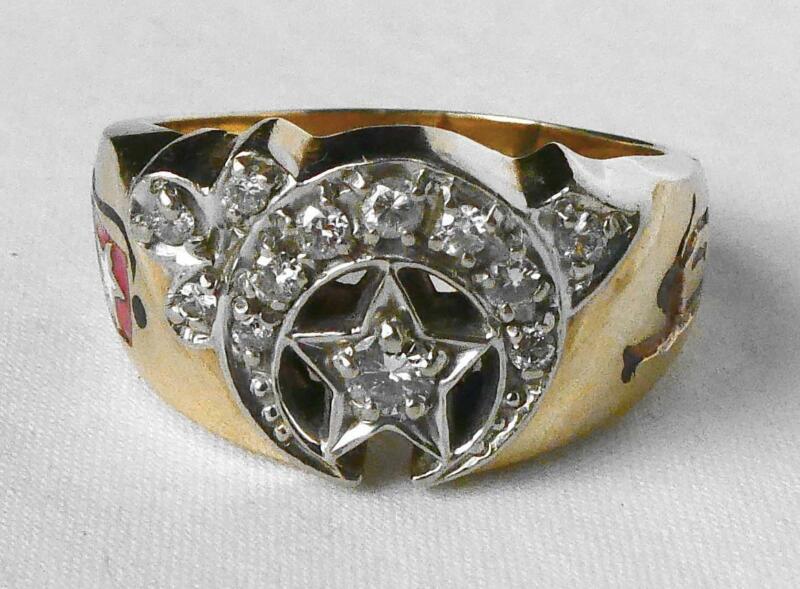 HEAVY 10k Gold .35 Ct Diamond Masonic Mason Shriners Ring Dated 1975 15.5gr