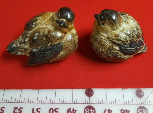 Vintage Pair Ceramic Toyo bird figurines - Quail? slate tan dark coloring Japan