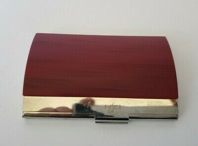 Business Card Holder Curved Silverplate Red Wood Grain Nei