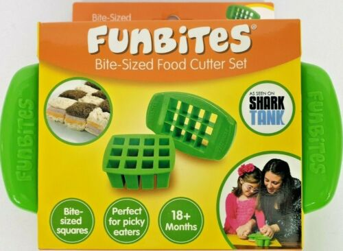 FunBites Bite Sized Food Cutter Set Square Shaped (BPA Free) 18+ mos~New