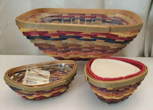 LOT 3 Longaberger Bright Multi Color Striped Baskets Rectangle Fiesta Dip Swoop