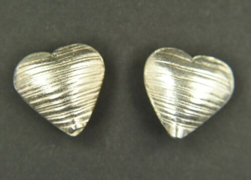 2 Thai Silver Puffed Brushed Hearts Hill Tribe Handcrafted Pendant Charm Bead
