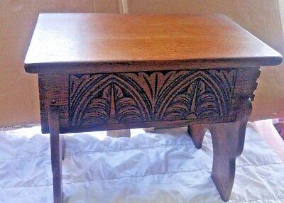 Small Oak Bible Box Stool Antique Vintage
