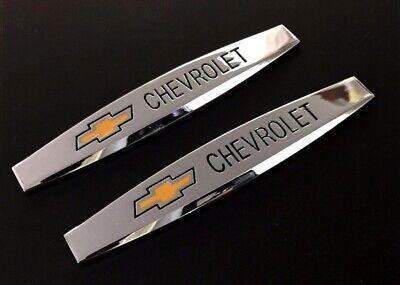 2Pcs Chevrolet Chrome Metal Car Trunk Side Fenders Emblem Badge Decal Sticker