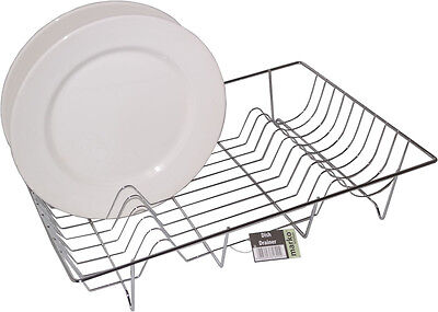 DISH DRAINER CHROME DRAINING RACK PLATED KITCHEN SINK PLATE BOWL CUTLERY  NEW