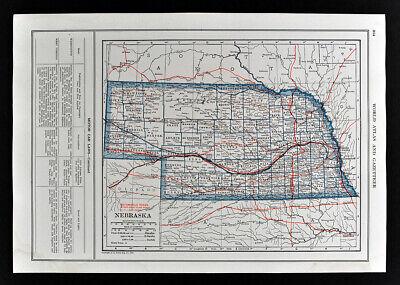 1919 Automobile Road Map Nebraska Omaha Lincoln Beatrice Hastings Norfolk Auburn
