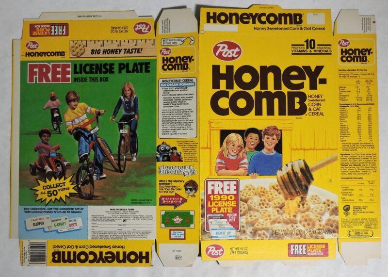 ESZ7431. Post Honey-Comb UNUSED FILE COPY Cereal Box Flat (1990) LICENSE PLATES