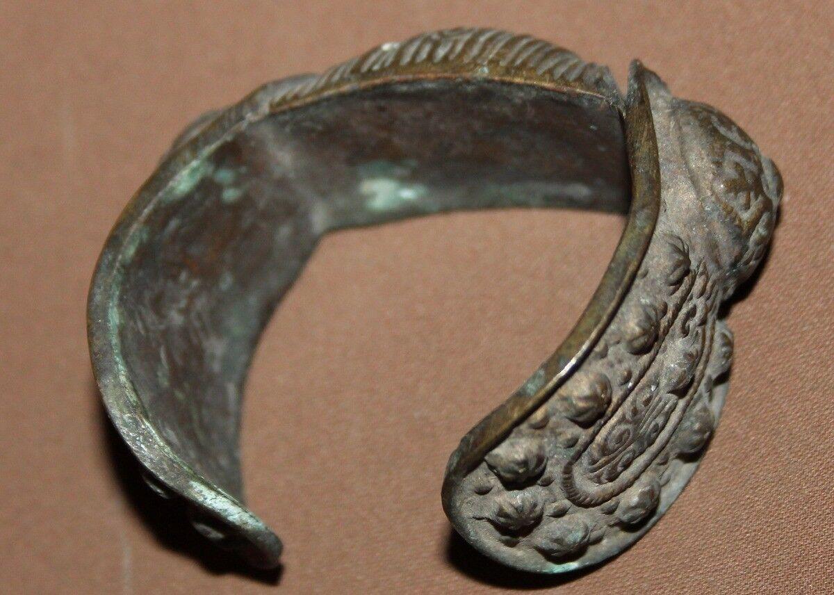 Antique Greek medieval bronze crusader fertility bracelet with cross