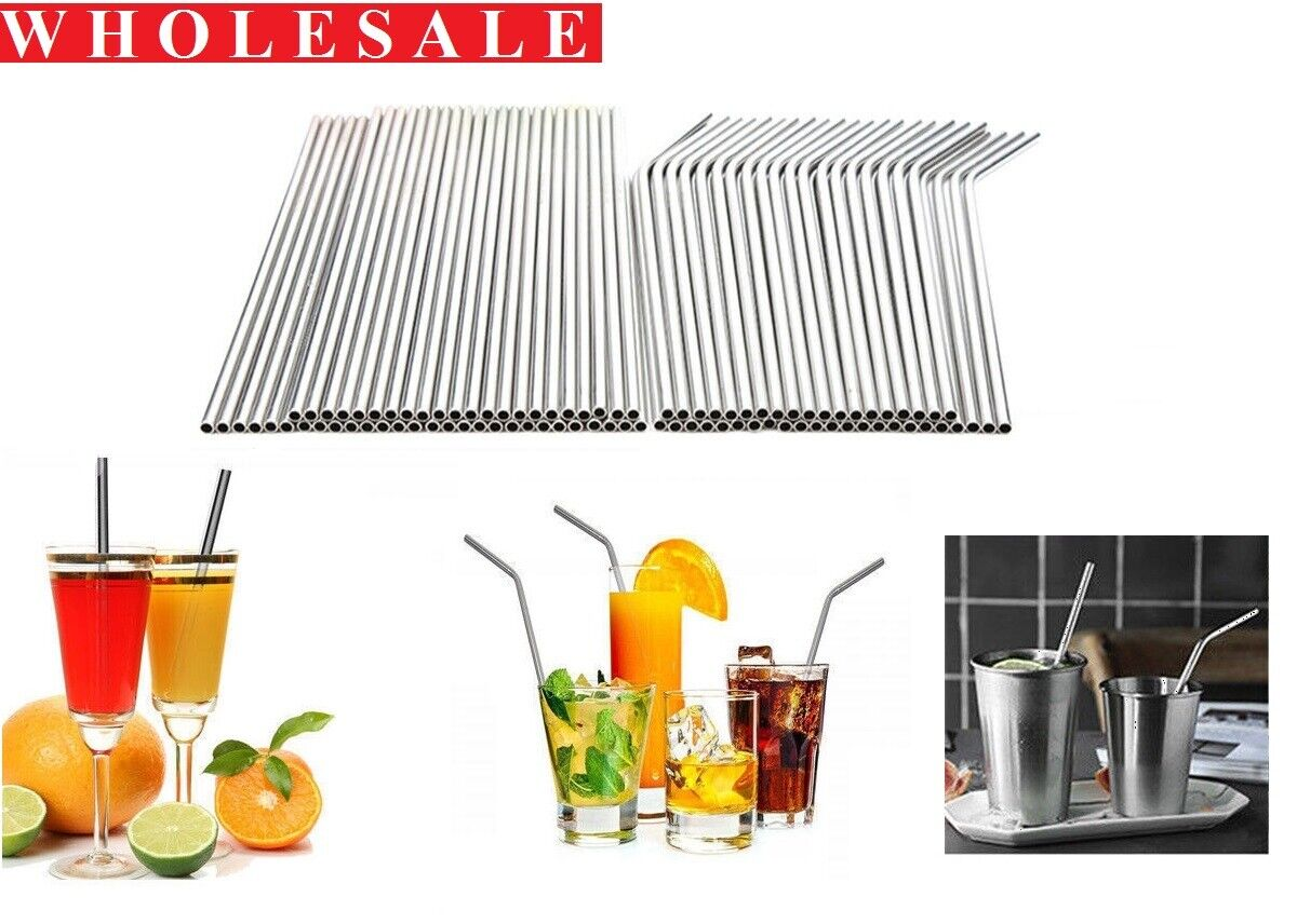 LOT 200pcs Metal Drinking Straw Stainless Steel Straws Reusable Restaurant Grade Home & Garden