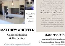 NEW High quality Cabinet maker & Carpenter Bowen Whitsundays Area Preview