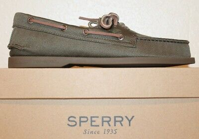 Mens Sperry Authentic Original A/O 2-Eye Surplus Slip Resistant Boat Shoes Olive