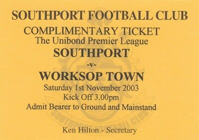 Ticket - Southport v Worksop Town 01.11.03