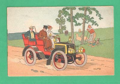 SCARCE VINTAGE FRENCH TRADE CARD ELIXIR D'GUILLIE DRIVER COUPLE TOURING CAR