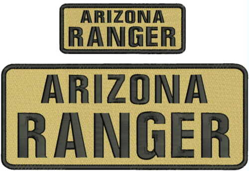 ARIZONA RANGER embroidery Patches 4x10 and 2x5 hook ON BACK tan and black